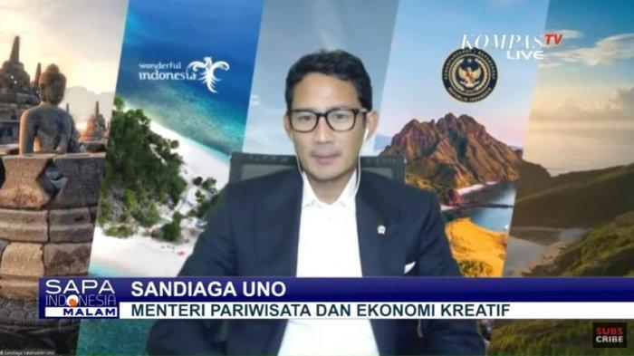 Menparekraf Sandiaga Salahuddin Uno menjelaskan soal industri pariwisata, ditayangkan di acara SAPA INDONESIA MALAM, Jumat (25/12/2020).
