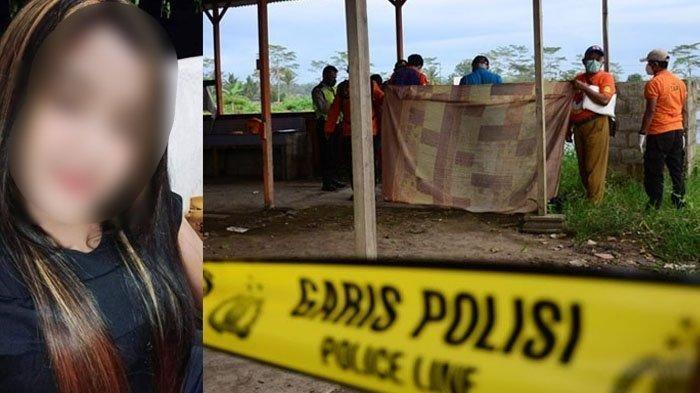 Kolase foto korban semasa hidup dan lokasi penemuan mayat pemandu karaoke di jalan Raya Pepen Pakisaji, Wagir, Kabupaten Malang.