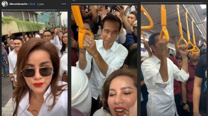 Olla Ramlan meneriakkan rasa cintanya kepada Jokowi di dalam MRT.