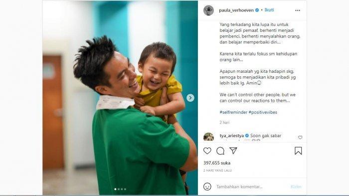 Paula Verhoeven mengunggah foto Baim Wong dan Kiano serta menuliskan pesan menyentuh, Selasa (12/10/2021).