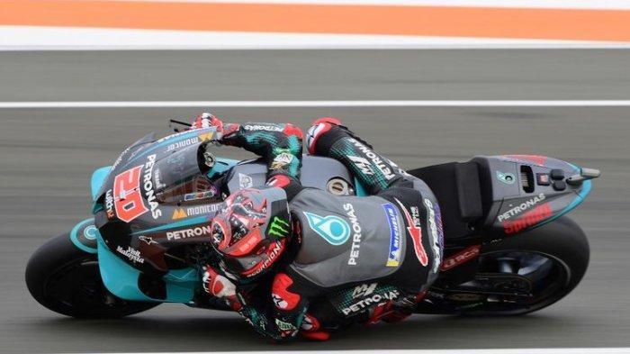 Fabio Quartararo saat berlaga di MotoGP Valencia.
