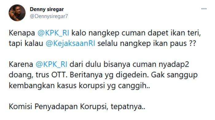 Pegiat Media Sosial, Denny Siregar turut mengomentari soal Gubernur Sulawesi Selatan, Nurdin Abdullah, yang terjaring Operasi Tangkap Tangan (OTT) Komisi Pemberantasan Korupsi (KPK).