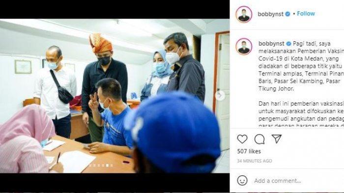 Wali Kota Medan Bobby Nasution meninjau proses pelaksanaan vaksinasi Covid-19 di sejumlah titik di Kota Medan, Sabtu (27/2/2021).