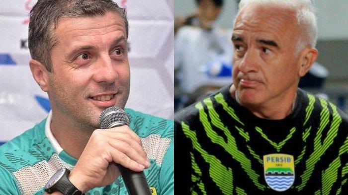 Pelatih Persib Bandung sekarang Miljan  Radovic (Kiri) dan pelatih musim 2018, Mario Gomez (Kanan)