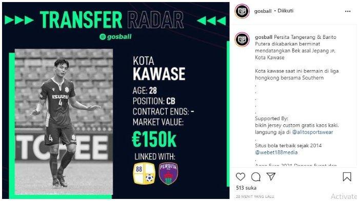 Pemain asal Jepang Kota Kawase dikabarkan sedang didekati dua klub Liga 1, Barito Putera dan Persita Tangerang.