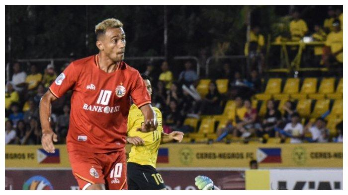 Pemain Persija Jakarta, Bruno Matos pada laga melawan Ceres Negros pada Piala AFC 2019 di Stadion Panaad Park, Bocolod, Filipina