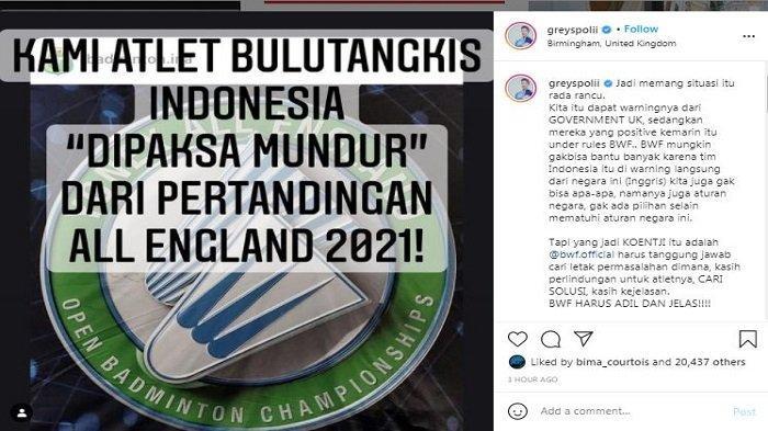 Unggahan akun Instagram/@greyspolii, Kamis (18/3/2021). Greysia meminta BWF bertanggung jawab memberikan kejelasan dan pembelaan terhadap para peserta partisipan YONEX All England 2021.