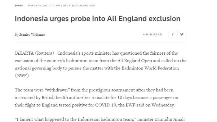 Pemberitaan Reuters terkait ditariknya tim badminton Indonesia dari All England 2021, Kamis (18/3/2021).