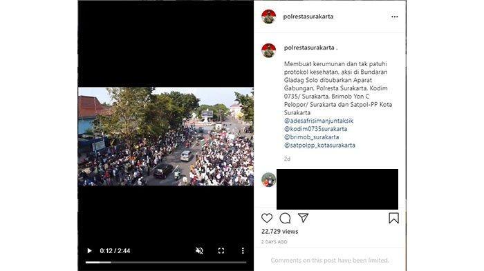 Capture Instagram @polrestasurakarta pada Jumat (21/5/2021). Pembubaran aksi solidaritas untuk Palestina.