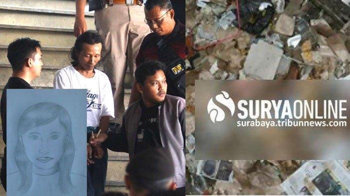 Sugeng Angga, tersangka pembunuhan sadis di Pasar Besar Kota Malang saat dibawa polisi. Kanan: Lokasi temuan potongan tubuh Sugeng Angga. Insert: sketsa korban mutilasi