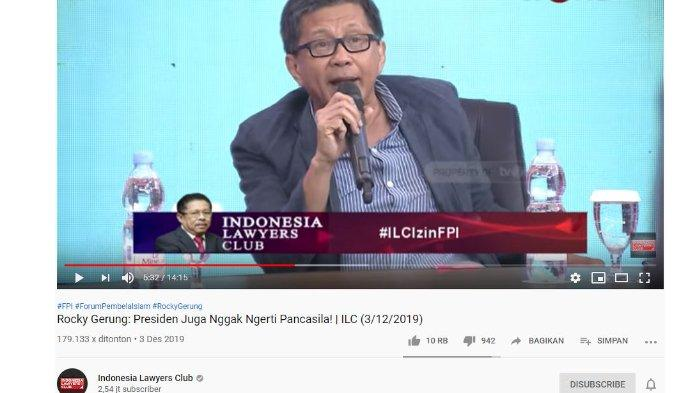 Di ILC, Rocky Gerung Diancam Dipolisikan karena Dinilai Hina Jokowi, Lihat Reaksi Rocky