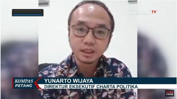 Pengamat Politik dan Direktur Eksekutif Charta Politika, Yunarto Wijaya dalam KompasTV, Senin (29/6/2020). Yunarto menyebutkan bahwa perombakan kabinet yang sedang ramai diisukan bisa jadi telah direncanakan sebelumnya.