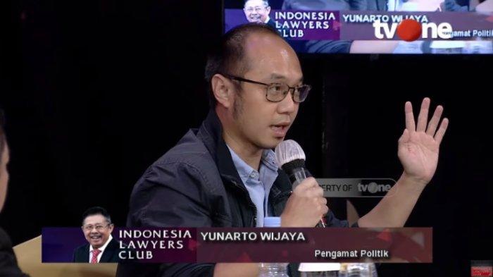 Pengamat politik Yunarto Wijaya, dalam acara ILC, Selasa (30/6/2020). Terbaru, Yunarto Wijaya menilai saat ini posisi AHY lebih kuat secara hukum daripada Moeldoko.