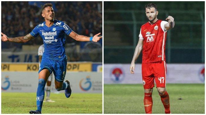 Kolase pemain Penyerang asing Persib Bandung Wander Luiz (kiri) dan bek asing Persija Jakarta Marco Motta (kanan).