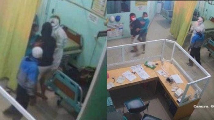 Rekaman CCTV memperlihatkan seorang perawat yang memakai hazmat hendak menuntun pasien menuju ranjang pemeriksaan di Puskesmas Pameungpeuk, Kabupaten Garut, Rabu (23/5/2021) malam. Pada kejadian tersebut, keluarga pasien memukul perawat karena dianggap lama menggunakan APD.