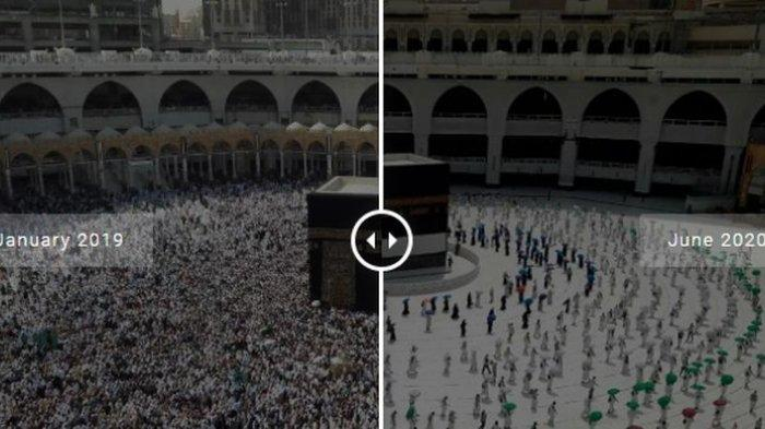 Perbandingan Jumlah jemaah yang tawaf di Baitullah (Kabah) di Mekkah Al Mukarramah, Arab Saudi.