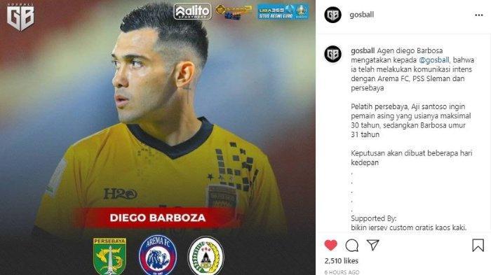 Tiga tim Liga 1, Persebaya Surabaya, Arema FC dan PSS Sleman dikabarkan sedang bersaing untuk mendapatkan gelandang asing asal Brasil, Diego Barboza.