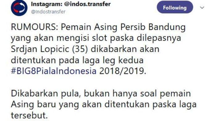 Persib Bandung dikabarkan akan menentukan pemain baru dan sosok baru yang diduga pelatih baru