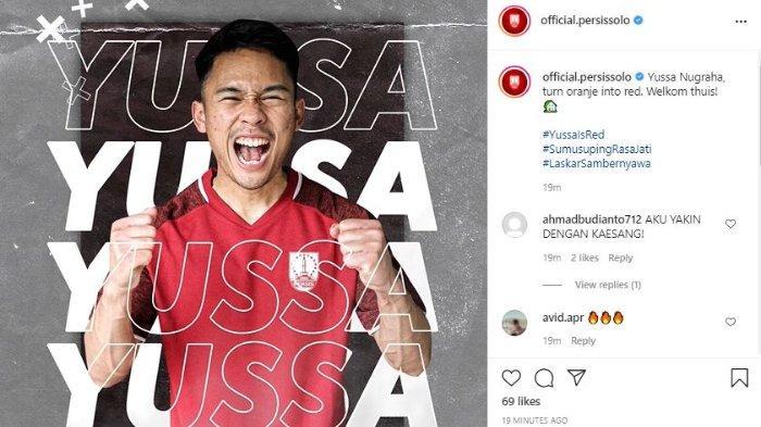 Melalui unggahan akun Instagram resmi klub, Senin (24/5/2021), Persis Solo memperkenalkan Yussa Nugraha sebagai rekrutan terbarunya.