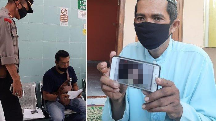 Polisi mengambil keterangan dari saksi kasus paket sate misterius (kiri). Bandiman memperlihatkan foto anaknya yang meninggal usai menyantap paket sate misterius, Senin (26/4/2021) (kanan).
