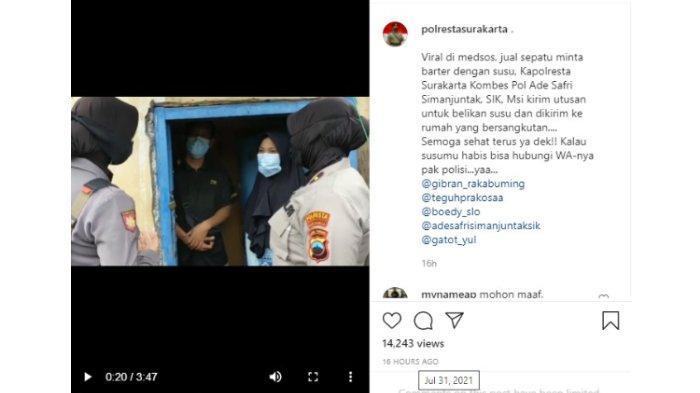 Postingan Instagram Polresta Surakarta saat mendatangi seorang warga yang viral karena hendak menukarkan sepatu dengan sekotak susu. perwakilan dari Polresta Surkarta membantu warga tersebut dengan membelikan beberapa kotak susu.
