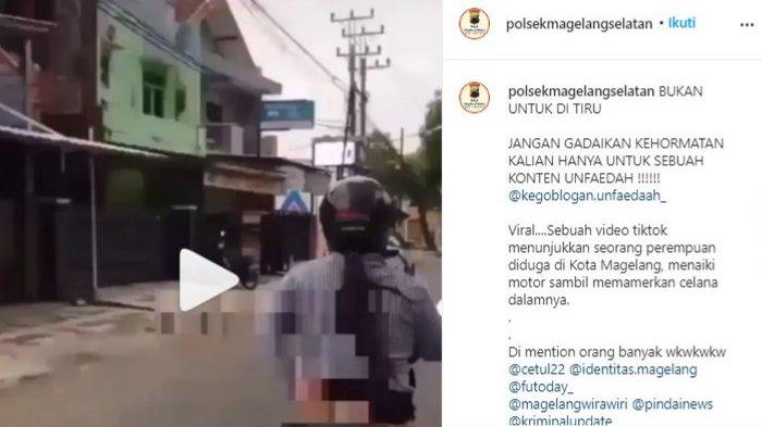 Viral Wanita Pamer Celana Dalam saat Naik Motor, Polsek Magelang Selatan: Ayo Mba Ida, Klarifikasi