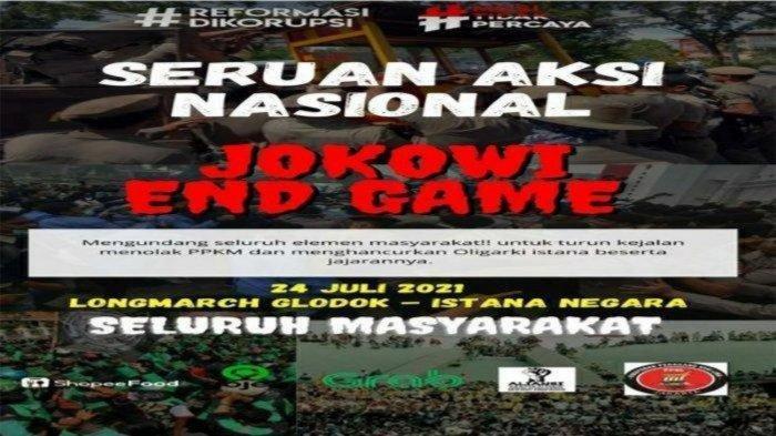 Poster Seruan Aksi Jokowi End Game. Inilah sosok Ahmad Sofian, seorang karyawan restoran cepat saji yang diduga jadi provokator aksi Jokowi End Game.