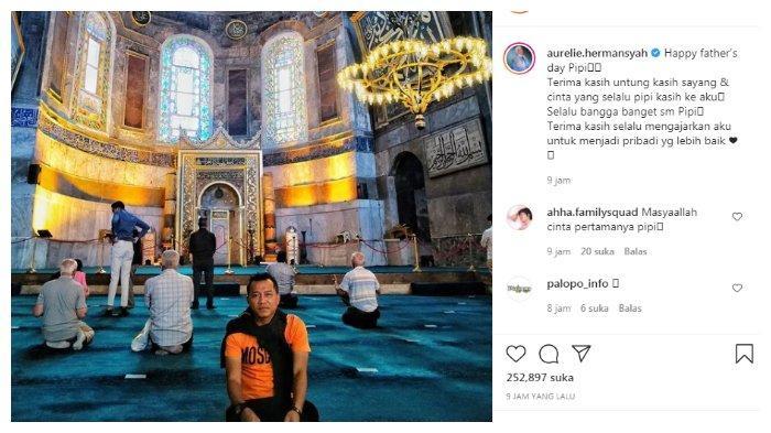 Postingan Aurel Hermansyah tentang Anang Hermansyah di hari ayah, Senin (21/6/2021).