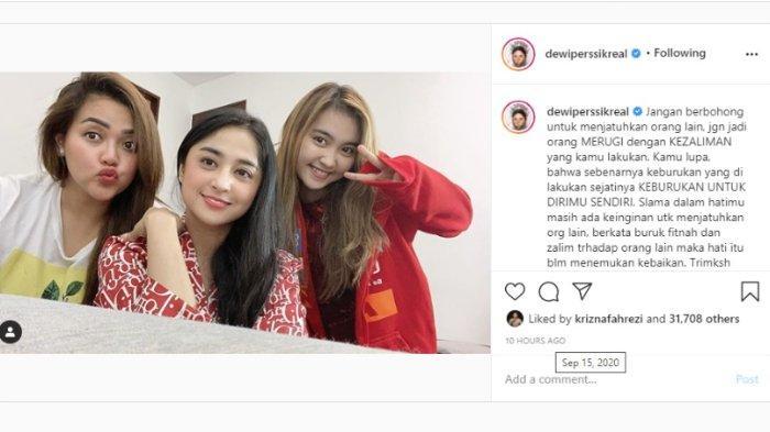 Postingan Dewi Perssik pada Selasa (15/9/2020).