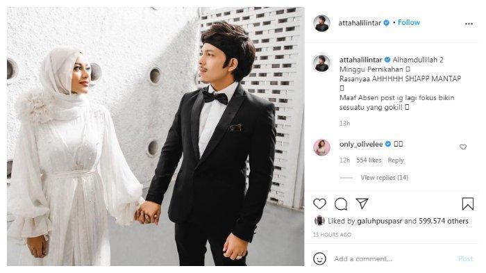 Postingan dua minggu pernikahan Atta Halilintar dan Aurel Hermansyah, Rabu (21/4/2021).