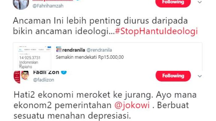 Postingan Fadli Zon dan Fahri Hamzah