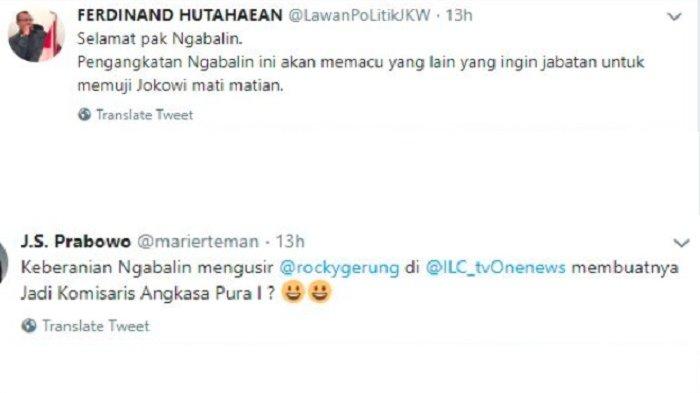 Postingan Ferdinand Hutahaean dan Suryo Prabowo