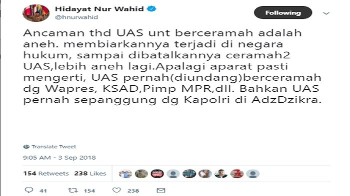 Postingan Hidayat Nur Wahid