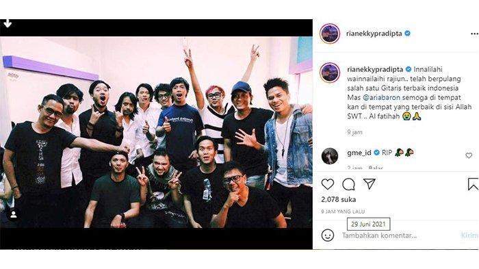 Tangkapan layar ucapan belasungkawa Ryan D'masiv untuk mendiang Aria Baron dalam akun Instagram @rianekkypradipta pada Selasa (29/6/2021)