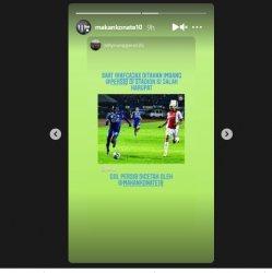 Postingan Instagram Story Makan Konate pada Instagram @makankonate10 pada 14 Mei 2021.