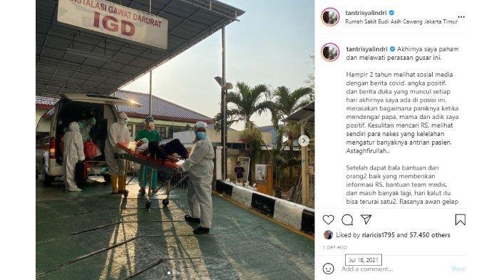 Postingan Instagram curhatan Tantri Kotak saat kesulitan mendapatkan rumah sakit untuk keluarganya yang terpapar Covid-19.
