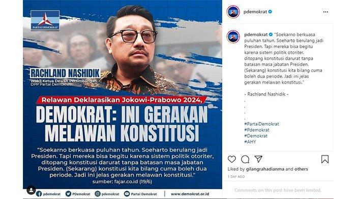 Tangkapan layar postingan Instagram Partai Demokrat dalam akun Instagram @pdemokrat memkai foto Rachland Nashidik pada Senin (21/6/2021).