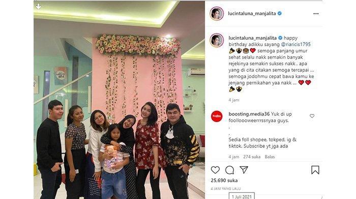 Postingan Lucinta Luna ucapkan ulang tahun untuk Ria Ricis dalam akun Instagram @lucintaluna_manjalita pada Kamis (1/7/2021).