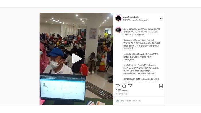 Penampakan Antrean Panjang Pasien Covid-19 di Wisma Atlet, Ada Anak-anak hingga Lesehan