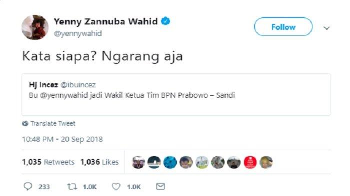 Postingan Yenny Wahid