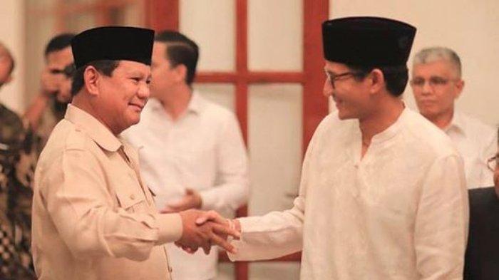 Calon Presiden nomor urut 02 Prabowo Subianto dan Cawapres nomor urut 02 Sandiaga Uno. Sandiaga Uno memberikan klarifikasi atas ketidakhadirannya dalam konferensi pers pasca pemungutan suara, Kamis (18/4/2019).