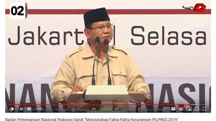 Calon Presiden Prabowo Subianto saat memberikan pidato di pertemuan