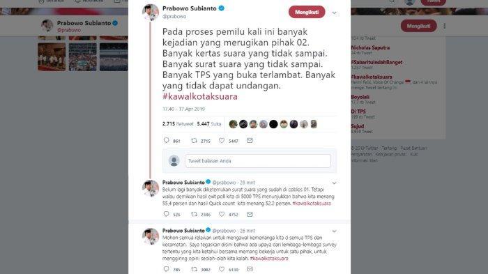 Kritik Prabowo soal Pemilu 2019, Rabu (17/4/2019).
