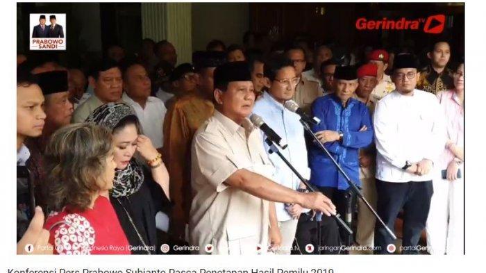 Prabowo Subianto dan kubu 02 menyatakan sikap terkait hasil rekapitulasi KPU Selasa (21/5/2019).