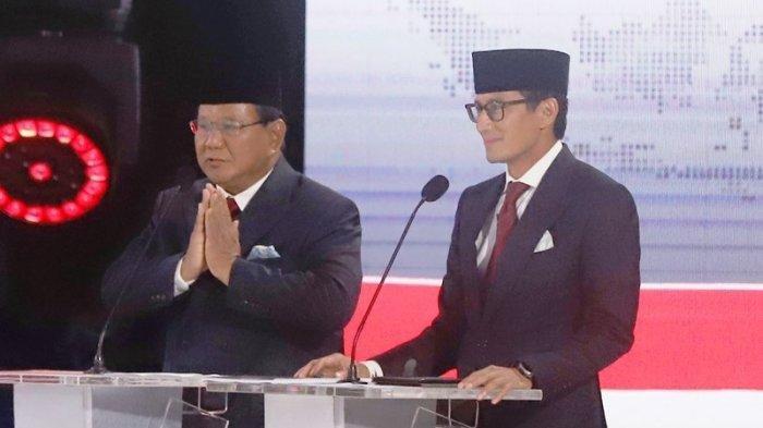 Prabowo Subianto dan Sandiaga Uno dalam Debat Pilpres kelima di Holten Sultan pada Sabtu, 13 April 2019.
