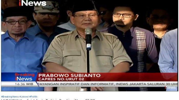 Prabowo Subianto memberi tanggapan terkait kerusuhan 22 Mei 2019