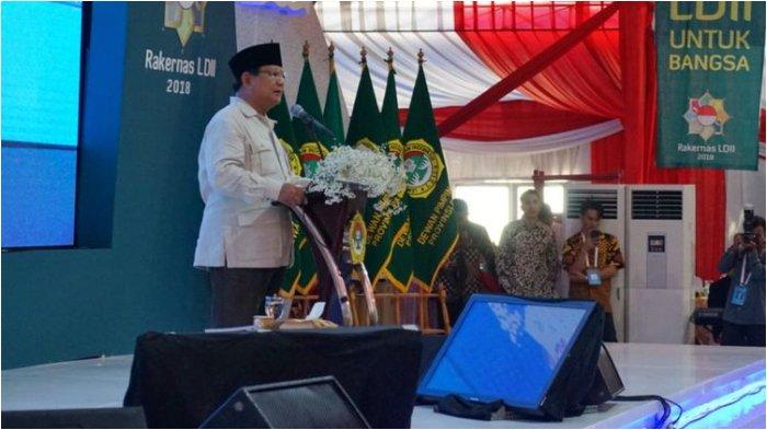 Berpidato di Rakernas LDII, Prabowo Sebut Indonesia Menjalankan 'Ekonomi Kebodohan'
