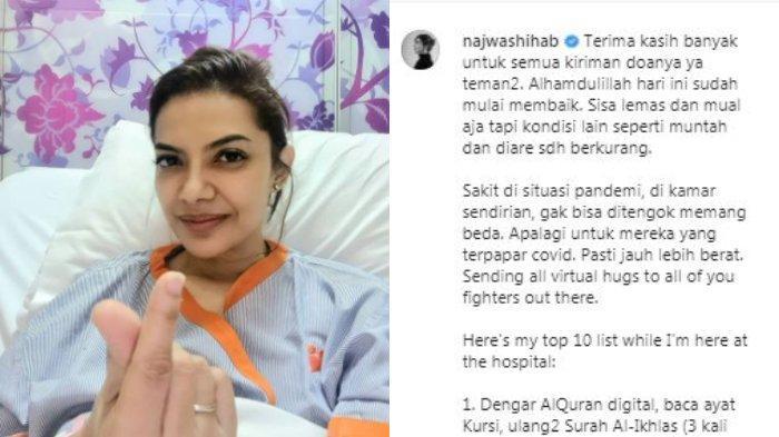 Presenter Najwa Shihab mengungkapkan dirinya sudah membaik sejak dirawat di rumah sakit karena menderita gangguan usus, Kamis (6/5/2021).