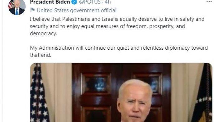 Presiden Amerika Serikat Joe Biden menyatakan soal komitmen Pemerintah AS menjaga perdamaian antara Palestina dan Israel, Jumat (21/5/2021).