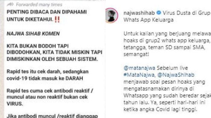Presenter Najwa Shihab membahas soal pesan hoaks tentang Covid-19 yang disebarkan lewat grup-grup di WhatsApp (WA). Pesan hoaks tersebut disebar dibuat oleh oknum tak bertanggung jawab seakan-akan ditulis langsung oleh Najwa Shihab.